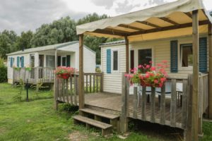 Mobil Home, terrasse, camping, Barbecue